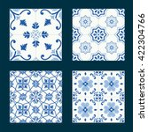 set of vintage ceramic tiles in ... | Shutterstock .eps vector #422304766