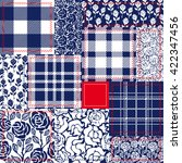 blue  white and red patchwork....
