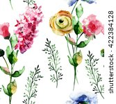 seamless wallpaper with flowers ... | Shutterstock . vector #422384128