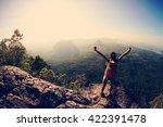 cheering woman hiker open arms... | Shutterstock . vector #422391478