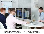 young engineers working in the... | Shutterstock . vector #422391988