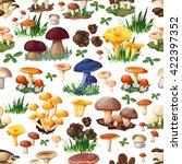 Mushroom Seamless Pattern With...