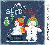 Two Cute Snowmen Sledding....