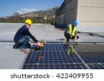 photovoltaic laborers fitting... | Shutterstock . vector #422409955