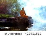 monk in buddhism meditation in... | Shutterstock . vector #422411512