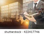 double exposure of business man ... | Shutterstock . vector #422417746