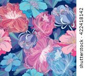 blue romantic vector floral... | Shutterstock .eps vector #422418142