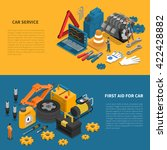 tools isometric banner set with ... | Shutterstock .eps vector #422428882