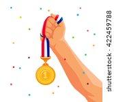 gold medal in hand. vector... | Shutterstock .eps vector #422459788