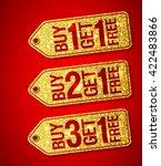 golden label tags set   buy one ... | Shutterstock .eps vector #422483866