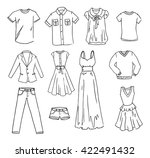 fashion clothes hand drawn... | Shutterstock .eps vector #422491432