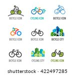 set of bicycle icons and symbols | Shutterstock .eps vector #422497285