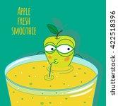 cartoon apple smoothie vector... | Shutterstock .eps vector #422518396