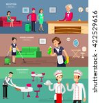 hotel staff and service ... | Shutterstock .eps vector #422529616