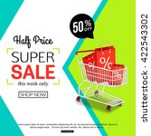 half price sale banner with... | Shutterstock .eps vector #422543302