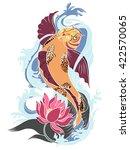 hand drawn koi fish tattoo | Shutterstock .eps vector #422570065