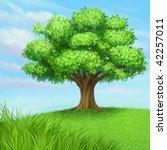 vector summer tree at green... | Shutterstock .eps vector #42257011