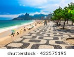 ipanema beach with mosaic of... | Shutterstock . vector #422575195
