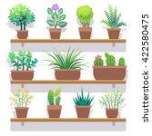 indoor plants in pots flat... | Shutterstock .eps vector #422580475