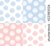 set of 4 dotted seamless... | Shutterstock .eps vector #422583526
