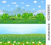 summer landscape with meadows... | Shutterstock .eps vector #422585092