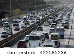 traffic jam at the highway in... | Shutterstock . vector #422585236