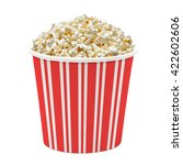 popcorn in striped bucket on... | Shutterstock . vector #422602606