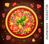 realistic vector pizza recipe... | Shutterstock .eps vector #422622736