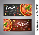 realistic pizza pizzeria flyer... | Shutterstock .eps vector #422622742