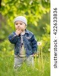 a little pensive boy is... | Shutterstock . vector #422633836