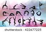 yoga positions. silhouettes... | Shutterstock .eps vector #422677225