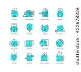 set of 16 thin line vector... | Shutterstock .eps vector #422678326
