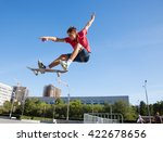 Cool Skateboard Is Jumping Hig...