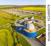 aerial view to biogas plant... | Shutterstock . vector #422680078