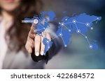 businesswoman pressing contact... | Shutterstock . vector #422684572