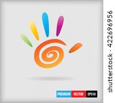 Abstract Colored Hand With 5...