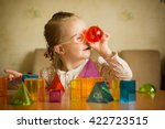 girl with down syndrome playing ... | Shutterstock . vector #422723515