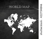 world map on chalkboard or... | Shutterstock . vector #422734846