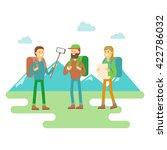 hiker  travel mountaineer flat... | Shutterstock .eps vector #422786032