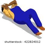 beaten street fighter lying on... | Shutterstock .eps vector #422824012