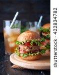 juice homemade hamburger with... | Shutterstock . vector #422834782