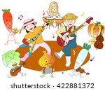 the concert of vegetables and... | Shutterstock .eps vector #422881372