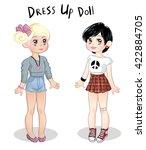 dress up cute paper doll | Shutterstock .eps vector #422884705