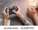 play video games in their... | Shutterstock . vector #422889292