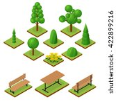 set of trees and bushes in... | Shutterstock .eps vector #422899216