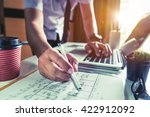business man hand working and... | Shutterstock . vector #422912092