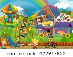 cartoon scene of playground and ... | Shutterstock . vector #422917852