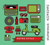Retro Vintage  And Icons Set...