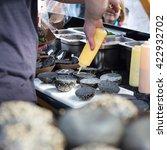 chef making  burgers outdoor on ... | Shutterstock . vector #422932702