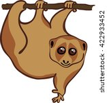 slow lori hanging on a tree... | Shutterstock .eps vector #422933452